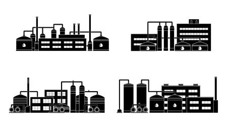 petrochemical: Oil refinery industry building. Set of petrochemical factories. Vector illustration.
