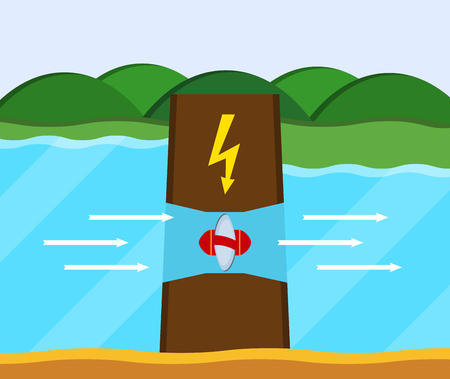hydroelectric station: Tidal power station. Flat style cartoon tidal dam. Innovation clean power. Vector illustration.