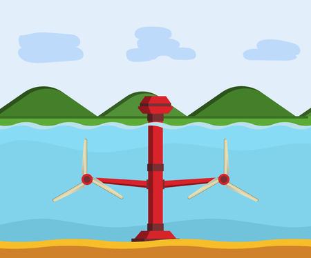 Tidal power station. Flat style cartoon tidal tower station. Innovation clean power. Vector illustration. Illustration