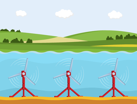 Tidal power station. Flat style cartoon tidal tower station. Innovation clean power. Vector illustration. Illustration