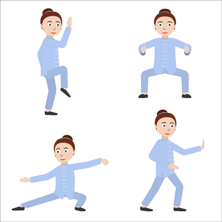 Girl performing qigong or taijiquan excercises. Woman practicing Tai Chi. Flat style. Vector illustration.