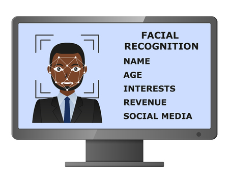 Biometrical identification. Facial recognition system concept. Face recognition program on monitor. African american man. Vector illustration Illustration
