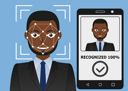 Biometrical identification. Facial recognition system concept. Mobile app for face recognition. African american man. Vector illustration