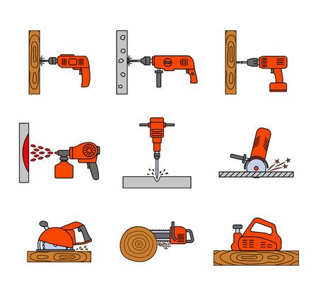 평면 다채로운 복구 도구 아이콘의 집합입니다. 홈 수리 도구 그림입니다. 노동자 도구. 전기 공구. 도구 서명. 벡터 일러스트 레이 션. 일러스트