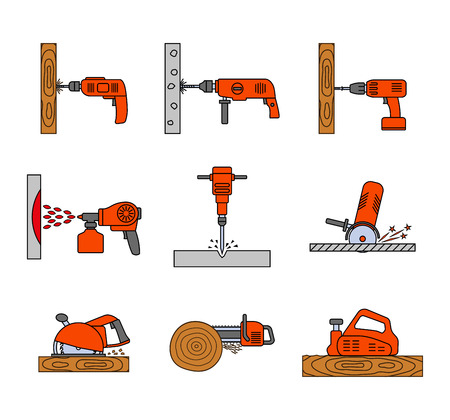 Set of flat colorful repair tool icons. Home repair tools pictogram. Worker tools. Electric tools. Tools sign. Vector illustration. Illustration