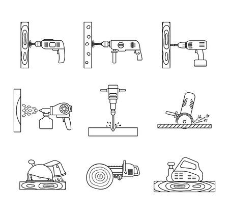 Set of flat repair tool icons. Home repair tools pictogram. Worker tools. Electric tools. Tools sign. Vector illustration.