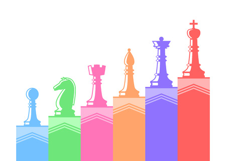 Set of chess figures. Chess elements collection. Flat style chess figures isolated. Vector illustration.