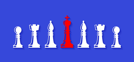 Team with leader. Set of chess figures. Chess elements collection. Flat style chess figures isolated. Leadership concept.  Leader controlling followers. Vector illustration.