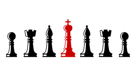 Chess elements collection. Set of chess figures. Flat style chess figures isolated. Leadership concept. Team with leader. Leader controlling followers. Vector illustration.