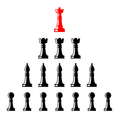 Leader controlling followers. Vector illustration. Set of chess figures. Chess elements collection. Flat style chess figures isolated. Leadership concept. Team with leader.