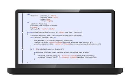 listing: Laptop with program code on screen. Programming and coding concept. Program listing. Vector illustration.