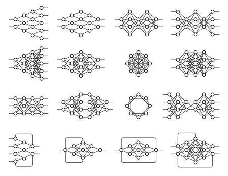 Set van verschillende neurale netten. Neuron-netwerk. Diepgaand leren. Cognitieve technologieconcept. Vector illustratie