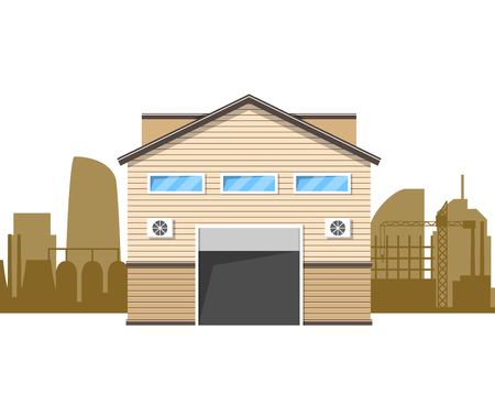 outdoor advertising construction: Warehouse logistics building. Storage icon. Storage in flat style. Vector illustration Illustration