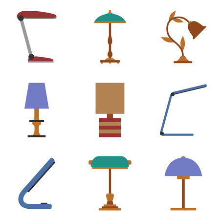 Lamp. Set of table lamp. Home lighting. Table lamps in flat style. Vector illustrator. Illustration