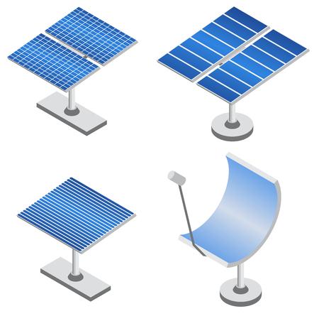 Zestaw paneli słonecznych w projekcji izometrycznej. Odnawialne źródło energii. Ekologiczna technologia zasilania. Ilustracji wektorowych.