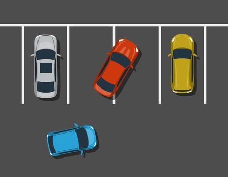Slechte parkeerplaats bovenaanzicht illustratie. Ongepast parkeren. Rude chauffeur slecht geparkeerd. Vector illustratie.