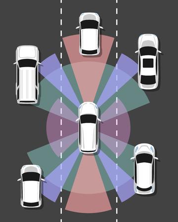 Autonomous car top view. Self driving vehicle with radar sensing system. Driverless automobile on road. Vector illustration. Ilustração Vetorial