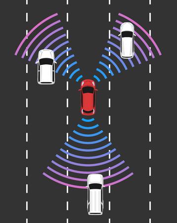 자율적 인 자동차 상위 뷰입니다. 레이더 감지 시스템을 갖춘자가 운전 차량. 운전자가없는 자동차 도로. 벡터 일러스트 레이 션. 일러스트