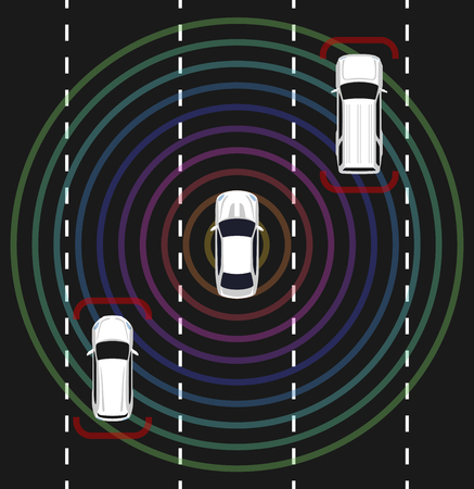 Autonomous car top view. Self driving vehicle with radar sensing system. Driverless automobile on road. Vector illustration.