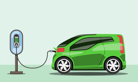 Electric car charging at ev power station flat style electromobility concept vector illustration. Vettoriali