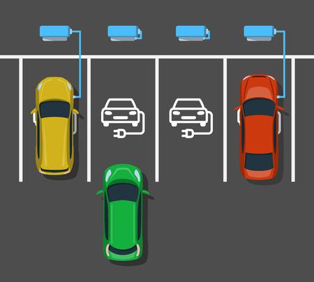 Elektroauto, das an ev-Kraftwerk auflädt. Parken an der Ladestation. Elektrofahrzeug, das Energie erhält. Ansicht von oben. Flachen Stil. Vektor-Illustration.