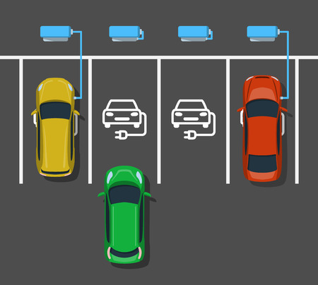 Electric car charging at ev power station. Parking at charging station. Electric vehicle getting energy. Top view. Flat style. Vector illustration. Illustration
