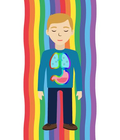prana: Energetic healing. Man heal himself with energy field. Pranic healing. Alternative medicine concept. Vector illustration. Illustration
