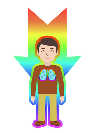 Energetic healing. Man heal himself with energy field. Pranic healing. Alternative medicine concept. Vector illustration. Illustration