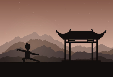 taiji: Girl performing qigong or taijiquan exercises in the evening. Woman practicing Tai Chi. Ancient chinese healthcare practice. Flat style. Vector illustration.