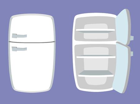 만화 스타일의 냉장고. 개방형 및 폐쇄 형 냉장고. 벡터 일러스트 레이 션.
