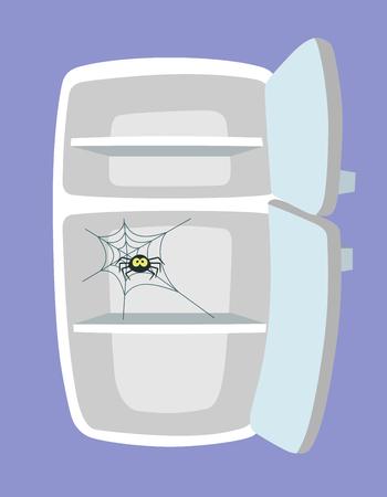 Lege koelkast. Keuken koelkast met spider en web. Absoluut geen eten. Niets om een concept te eten. Cartoonstijl. Vector illustratie.