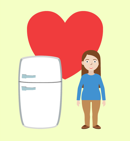 Fat girl with refrigerator in love. Concept of unhealthy nutrition habit. Vector illustration.