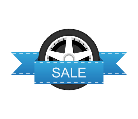 shiny car: Wheel disk discount banner.