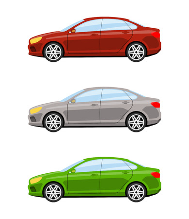 Set of cars side view different colors. Sedan car icon detailed. Vector illustration.