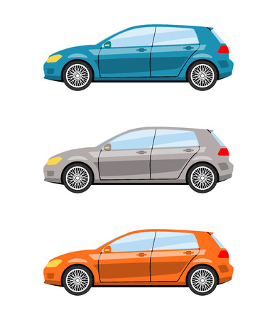 Set of cars side view different colors. Hatchback car icon detailed. Vector illustration.