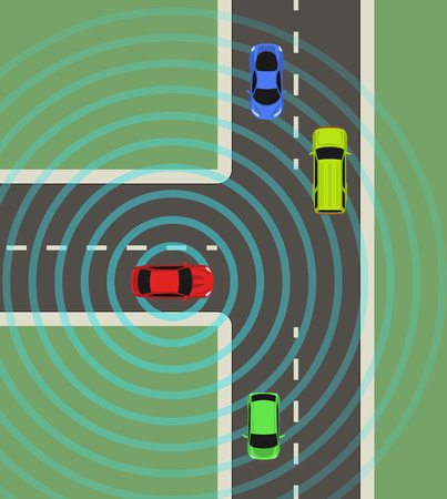 wireless communication: Autonomous car top view. Self driving vehicle with radar sensing system. Driverless automobile on road. Vector illustration.