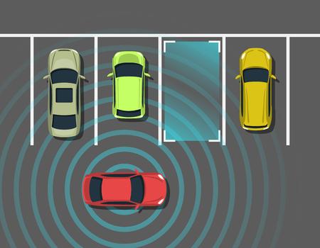 Vue de dessus de stationnement de voiture autonome. Véhicule autonome avec système de détection radar. Stationnement automobile sans conducteur. Illustration vectorielle. Banque d'images - 83866388