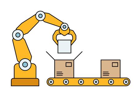 Dunne lijnstijl montage lijn. Automatische productieband. Robotische industrie concept. Vector illustratie. Stock Illustratie
