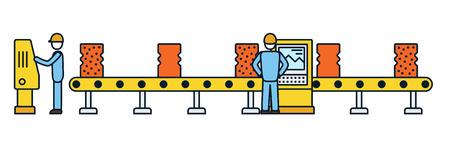 Ligne d'assemblage en ligne fine. Transporteur de production automatique. Concept de l'industrie robotique. Illustration vectorielle.