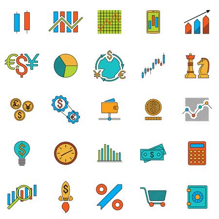 Set of stock forex icons. Finance exchange investing icon. Illustration