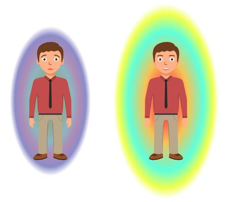 meditation man: Energetic healing. Pranic healing. Alternative medicine concept. Reflection of health on the aura. Vector illustration.