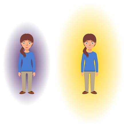 reiki: Energetic healing. Pranic healing. Alternative medicine concept. Reflection of health on the aura. Vector illustration.