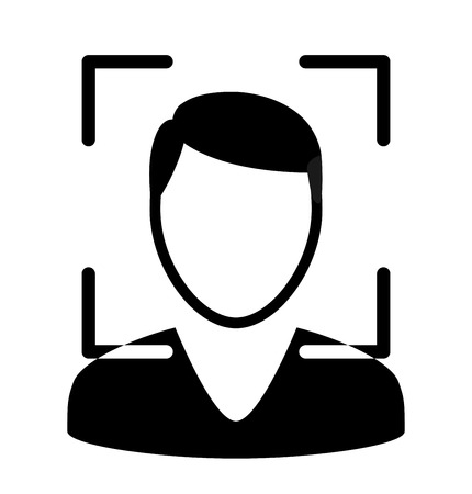 Biometrical identification. Facial recognition system concept. Face recognition. Simple icon. Vector illustration Vettoriali