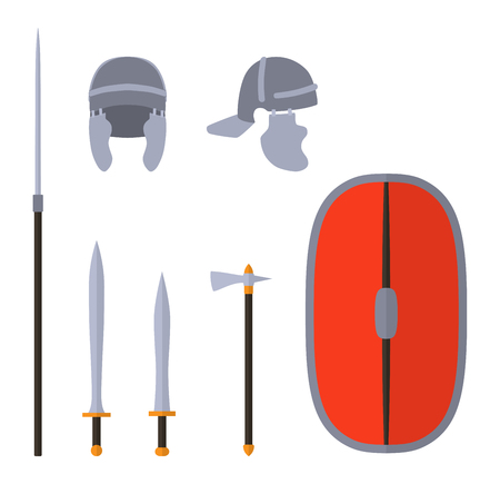 Set of ancient roman weapon and protective equipment. Spear, sword, gladius, shield, axe, helmet. Warrior outfit Vector illustration