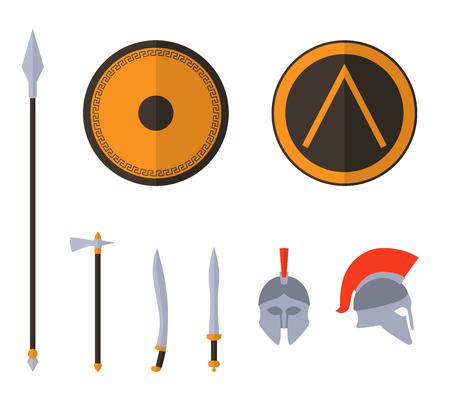 trojan: Set of ancient Greek spartan weapon