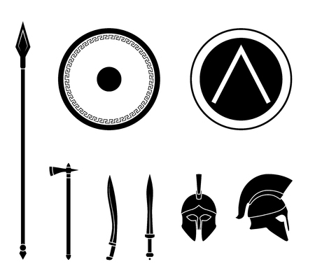 Set of ancient Greek spartan weapon