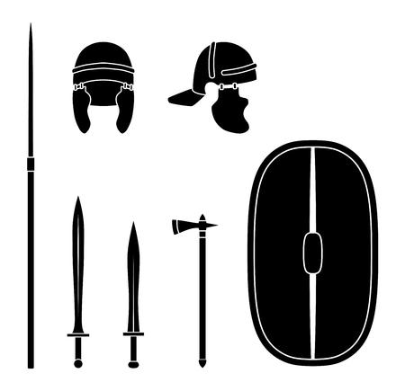 Set of ancient roman weapon