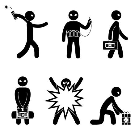 Set of terrorists with bomb. Suicide bomber. Man with explosives. Terrorism world threat concept. Vector illustration.