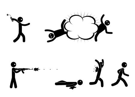 Terrorists with bomb and machine gun Illustration