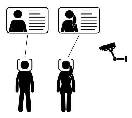 Biometrical identification. Facial recognition system concept.